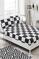 Простынь на резинке с наволочками Eponj Home B&W Dames черно-белая двухспальная евро размер