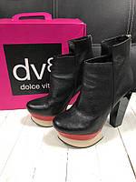 Женские черные кожаные ботильоны на высоком каблуке Dolce Vita