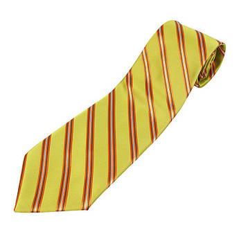 Мужской желтый галстук в красную полоску 030C