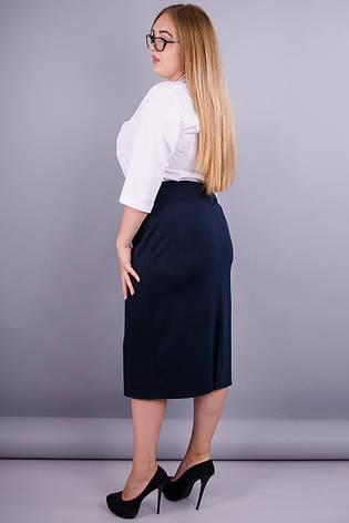 Жіноча спідниця батал для офісу синий 50 06fac7dd6e53e