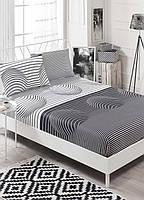 Простынь на резинке с наволочками Eponj Home B&W Hypnose черно-белая двухспальная евро размер