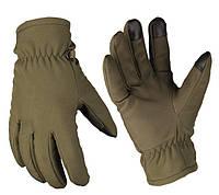 Зимние сенсорные перчатки Softshell + Thinsulate олива. НОВЫЕ. Mil-Tec, Германия.