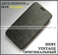 Классический чехол книжка Mofi Vintage для Asus Zenfone 3 Max ZC553Kl X00dd серый