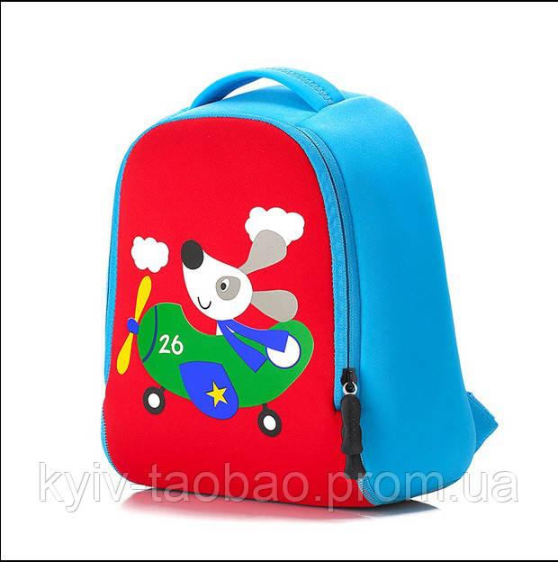 """Детский неопреновый рюкзак """"Розовый зайка"""" голубой щенок"""