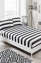 Простынь на резинке с наволочками Eponj Home B&W Line черно-белая двухспальная евро размер