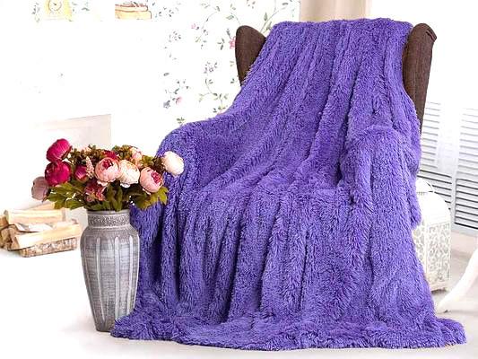 Покрывало плед Травка Koloco 220х240 фиолетовый