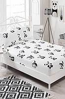 Постельный набор простынь на резинке с наволочками Eponj Home B&W Panda черно-белая двухспальная евро размер