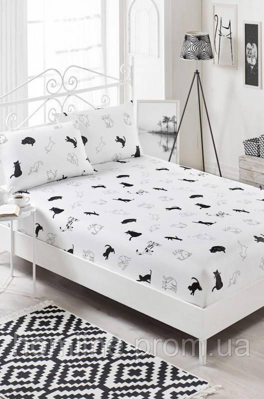 Простынь на резинке с наволочками Eponj Home B&W Patte черно-белая двухспальная евро размер
