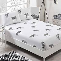 Простынь на резинке с наволочками Eponj Home B&W Zebra черно-белая двухспальная евро размер