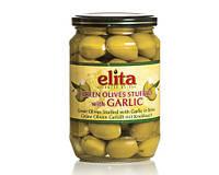 """Греческие маслины зеленые  фаршированные чесноком  """"Elita"""" стекло 0,72 кг"""