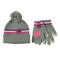 Шапка с перчатками для девочки в сером или черном цвете; 7-16 лет