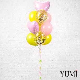 Связка из 10 шаров с гелием и гирляндой тропики, фото 2