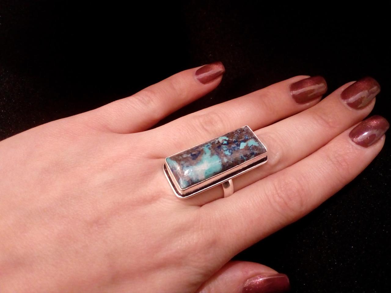 Красивое кольцо с хризоколлой в серебре. Природная хризоколла 18-18,5 размер Индия