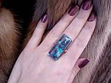 Красивое кольцо с хризоколлой в серебре. Природная хризоколла 18-18,5 размер Индия, фото 3