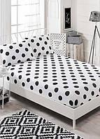 Простынь на резинке с наволочками Eponj Home B&W Point черно-белая двухспальная евро размер