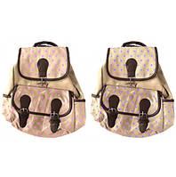 Рюкзак F11007-14, Джинс коричневый с цветов. точками, Имп