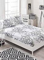 Простынь на резинке с наволочками Eponj Home B&W Mare белая двухспальная евро размер