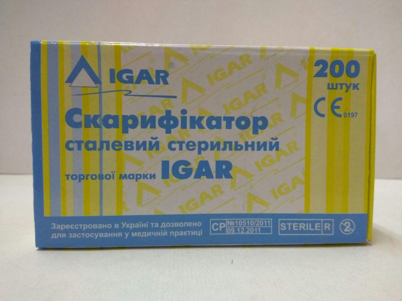 """Ланцет (скарификатор) стальной стерильный """"IGAR"""" (200 шт./уп.)"""