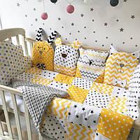 """Комплект в кроватку """"Черно-серо-желтые зверушки"""""""
