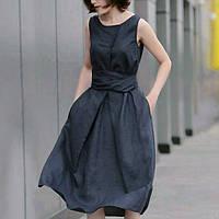 Тонкое льняное платье с широким поясом и бансом, цвета на выбор, фото 1