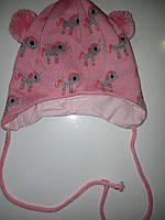 Весенняя шапка на завязках. Размер 42-44