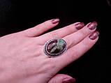 Красиве кільце з хризопразом.18 розмір.Кільце природний хризопраз в сріблі., фото 4