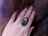 Красиве кільце з хризопразом.18 розмір.Кільце природний хризопраз в сріблі., фото 3