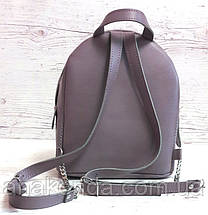 114-2 Натуральная кожа Городской рюкзак Кожаный рюкзак фиолетовый Рюкзак женский сиреневый рюкзак сиреневый, фото 3