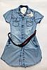 Джинсовая летняя рубашка для девочек от 8 до 12 лет.