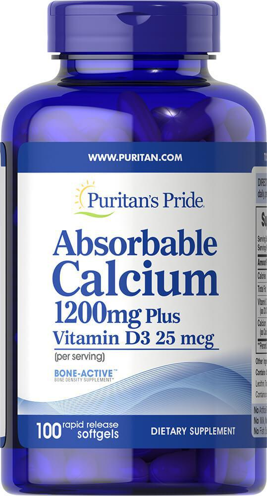 Puritan's Pride Absorbable Calcium 1200 mg with Vitamin D3 1000 IU 100 softgels