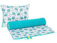 Комплект в детскую коляску BabySoon Ежики мятные одеяло 75х78 см подушка 30х40 см бирюзовый