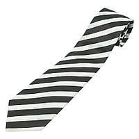 Мужской черно-белый галстук в полоску 030C