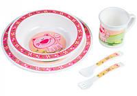 Набор посуды пластиковый с розовым котиком, Canpol babies (4/401-3)