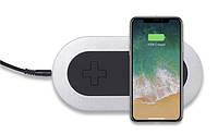 Беспроводная зарядка на два смартфона с технологией QI, Qitech Double Pad цвет серебристый