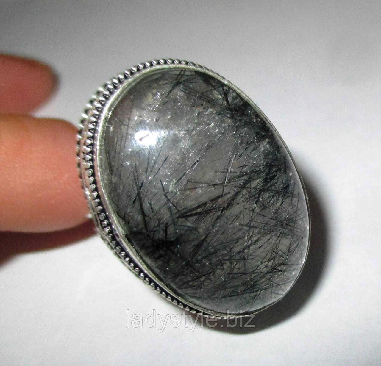 """Кольцо с турмалиновым кварцем волосатиком """"Зевс"""", размер  19"""