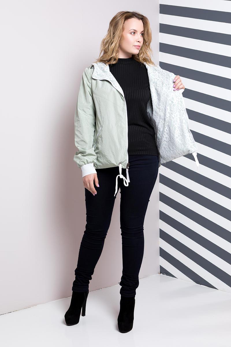 2d00baf5 Женская модная двусторонняя ветровка больших размеров 636 / размер 54 /  цвет мята