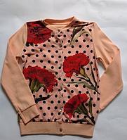 Детская кофта для девочек Маки от 6 до 12 лет., фото 1