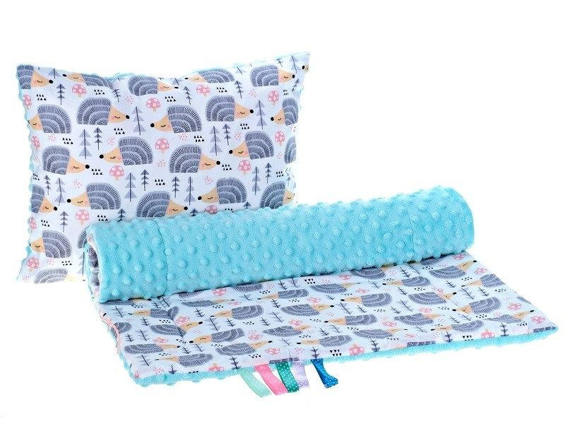 Комплект в детскую коляску BabySoon Ежики серые одеяло 75х78 см подушка 30 х40 см мятный