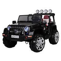 Детский двухместный электромобиль JEEP M 3572 EBLR-2: 4x4, 8 км/ч, EVA, кожа - ЧЕРНЫЙ - купить оптом, фото 1