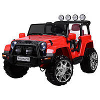 Детский двухместный электромобиль JEEP M 3572 EBLR-3: 4x4, 8 км/ч, EVA, кожа - КРАСНЫЙ - купить оптом