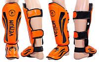 Защита для голени и стопы для спортсменов Муай Тай FLEX VENUM ELITE NEO VL-5243-OR (р-р M-XL, оранжевый)