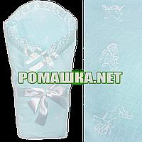 Ажурный весенний осенний конверт-одеяло на выписку 90х90  верх и подкладка хлопок 3062 Голубой 2