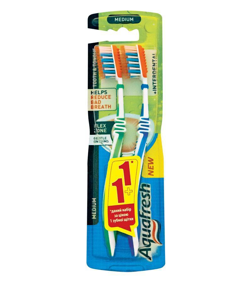 Зубная щетка Aquafresh для зубов и языка с эффектом зубной нити 1+1, 2шт.