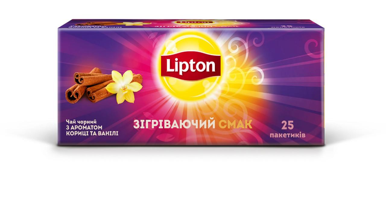 Чай Lipton Warming Taste с ароматом корицы и ванили, Черный 25 пакетиков