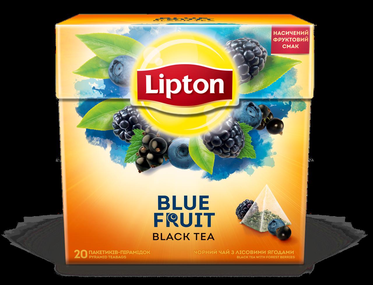 Чай Lipton Blue Fruit с кусочками ягод в пирамидках Черный 20 пирамидок