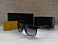 Солнцезащитные мужские очки Армани Armani чёрные матовые (реплика)