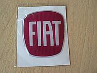 Наклейка s вставка в эмблему Fiat красная 64х70х1,3мм силиконовая эмблема логотип марка бренд на авто Фиат