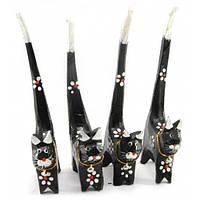 Деревянные кольцедержатели Кошки черные
