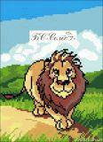 Ткань с рисунком для вышивки бисером Лев