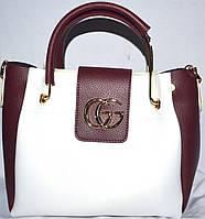 Женские сумки эко кожа (белый+бордо)28*328